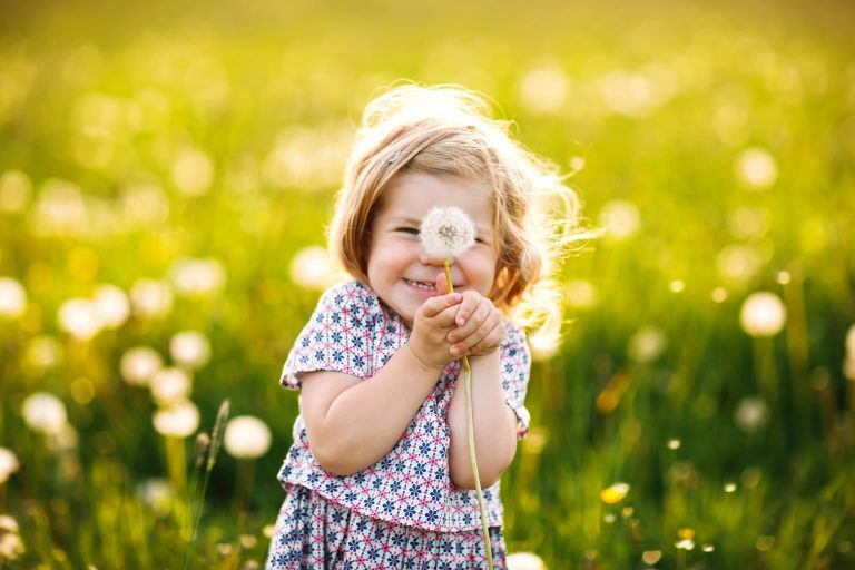 Little girl making a wish on a dandelion clock in a sunny field, indicating hope for the future